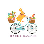 Cute Easter Rabbit on Bicycle with Eggs in basket vector background. Funny Bunny, Chicken cartoon illustration. Happy Easter spring holiday greeting card. Festive seasonal celebration design template