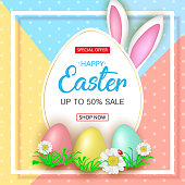 Cute Easter sale banner with flowers, Easter eggs and Rabbit ears on colorfull background. Vector illustration