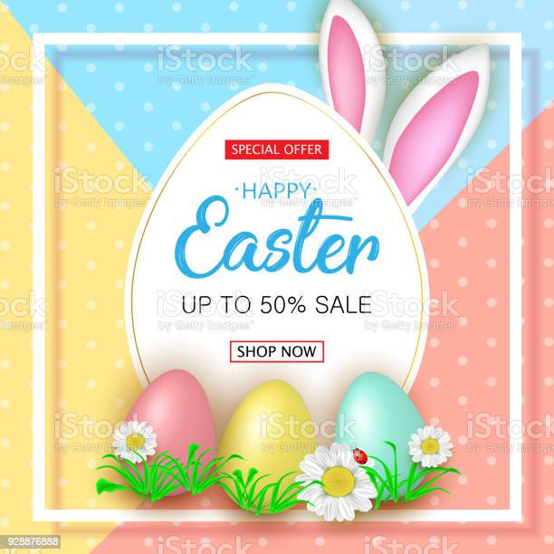 Cute easter sale banner with flowers easter eggs and rabbit ear vector id928876888?b=1&k=6&m=928876888&s=612x612&h=wvv7talrc sukvvgkogg3eavcxarl7b8h2pao8cw2my=