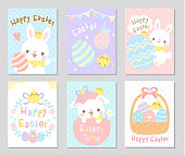 Cute Easter bunny, little chicken, eggs and flowers in soft pastel color. Set of rectangle gift tag, card, postcard. Lovely Easter day greetings. Vector illustration.