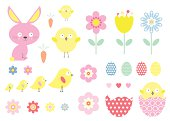 Cute easter icons, symbols and clip art. Bunny, chicks, eggs, and flowers all in fresh pastel colors.
