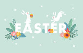 Cute Easter web banner with white rabbits, colorful Easter eggs, leaves and flowers. Spring greeting card, invitation. Vector illustration background, seasonal flat design.