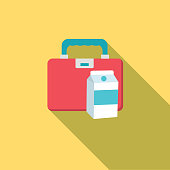 Cute Education Icon - Lunchbox And Milk