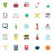 Flat Design Style Back To School Icons