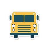 Back To School Flat Design Icon On A Sticker Base