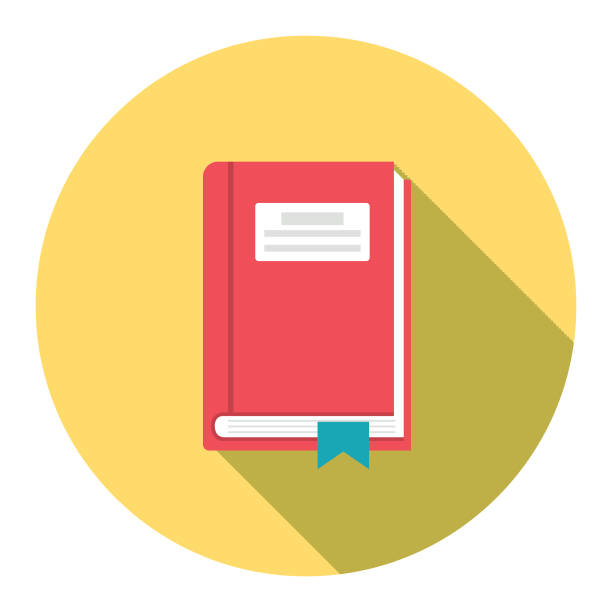 Cute Education Icon - Textbook With Bookmark vector art illustration