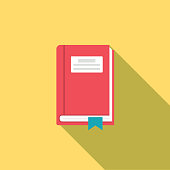Flat Design Style Back To School Icon - Textbook With Bookmark