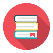Flat Design Style Back To School Icon - - Textbooks