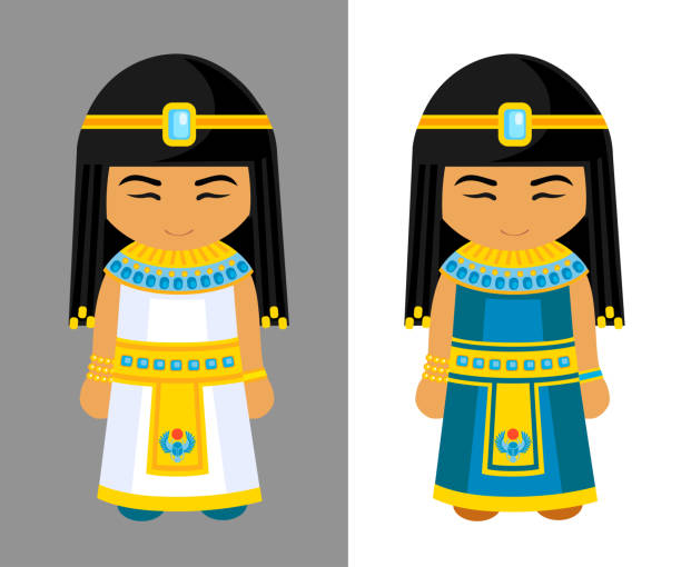 Cute egyptian girls. National dress, traditional clothes. Travel to Egypt. Vector illustration name of person stock illustrations