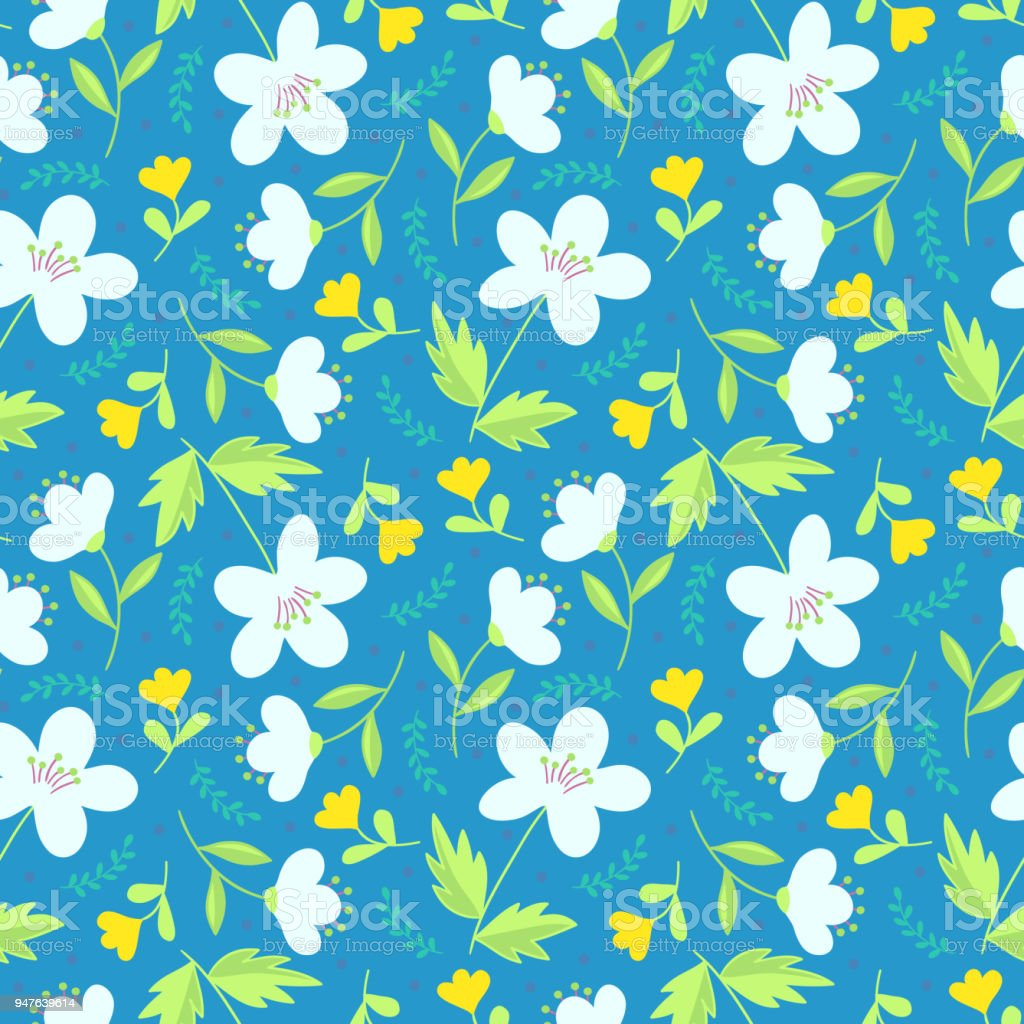 Cute Elegant Floral Hand Drawn Seamless Pattern White And Yellow