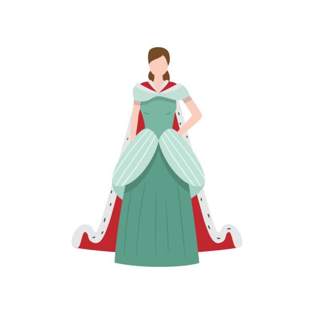 긴 드레스와 귀여운 우아한 왕실 중세 공주 - 몰도바 stock illustrations