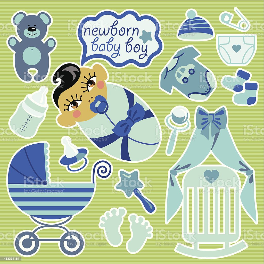 Cute elements for Asian newborn baby boy.Strips background. vector art illustration