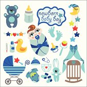 A set of cute cartoon elements for newborn baby boy. Baby cartoon icons for little boy.Vector illustration