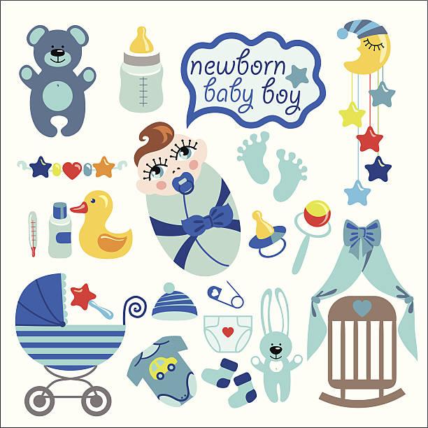 stockillustraties, clipart, cartoons en iconen met cute elements for newborn baby boy - alleen één jongensbaby