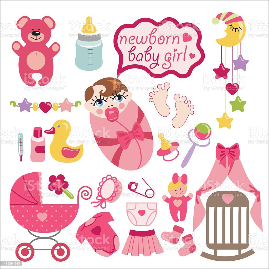 Cute elements for newborn baby girl vector art illustration