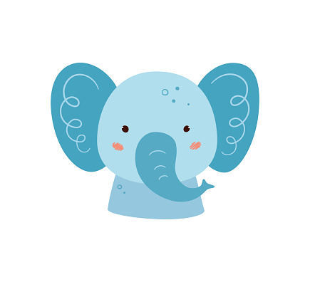 Cute elephant. Animal kawaii character. Funny little elephant face. Vector hand drawn illustration isolated on white background