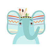 Cute Elephant Animal Wearing Indian Traditional Tribal Headdress with Feathers Vector Illustration on White Background.