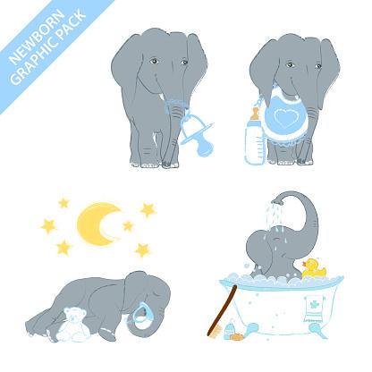 Cute elephant baby girl celebrating newborn isolated on white background