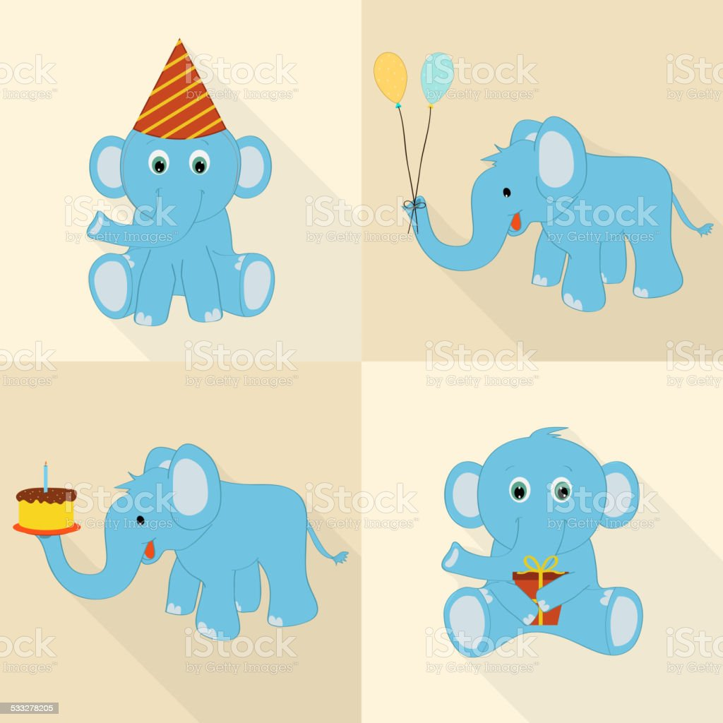 cute elephant cartoon for birthday celebration stock vector art