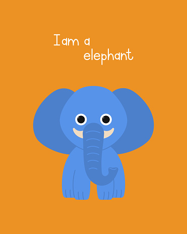 Cute elephant cartoon hand drawn vector illustration. Can be used for printing on T-shirts, baby clothes, fashion designs, baby shower invitation card.