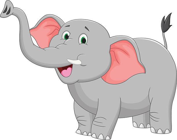 royalty free cute elephant cartoon waving hand clip art vector