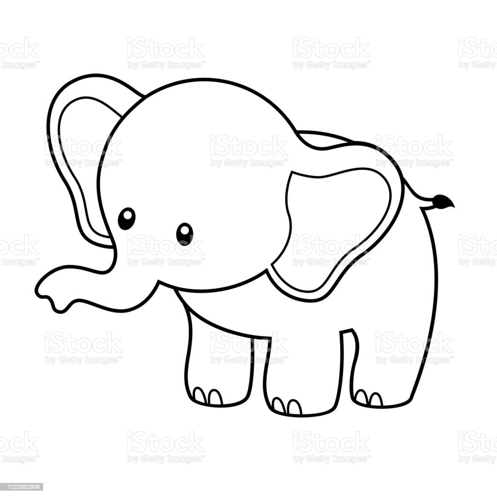Cute Elephant Coloring Page Vector Illustration Stock Illustration
