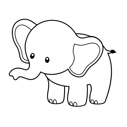 Cute Elephant Coloring Page Vector Illustration