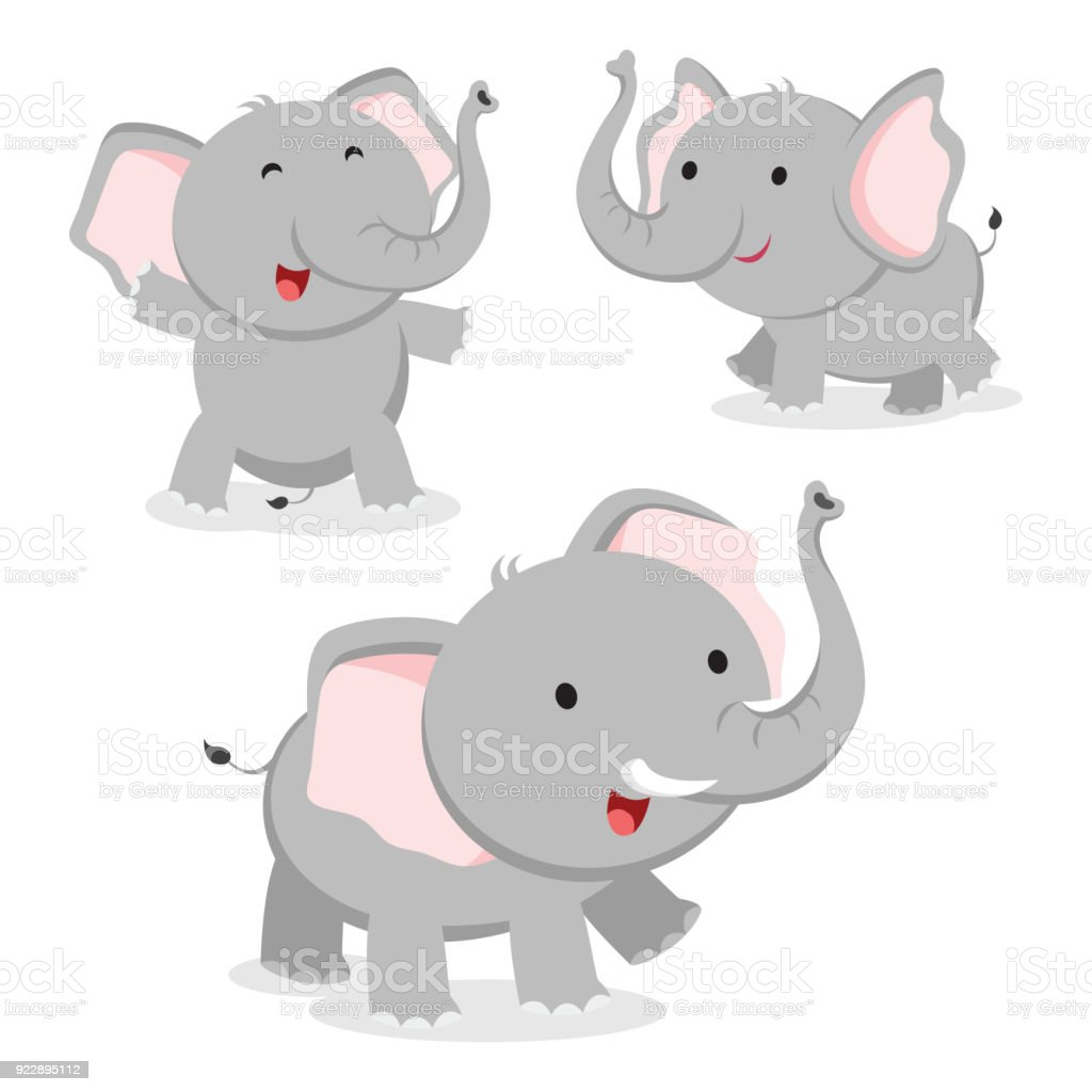 Cute elephant in different poses vector art illustration