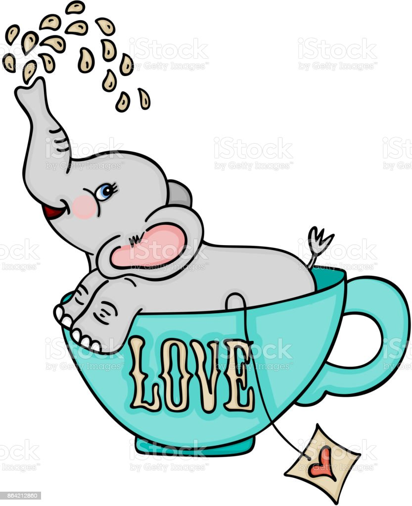Cute elephant in love tea cup royalty-free cute elephant in love tea cup stock vector art & more images of animal