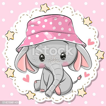 istock Cute Elephant in panama hat on a pink background 1182598143