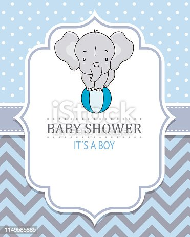 Cute elephant on top of a ball. Baby boy shower card. Space for text
