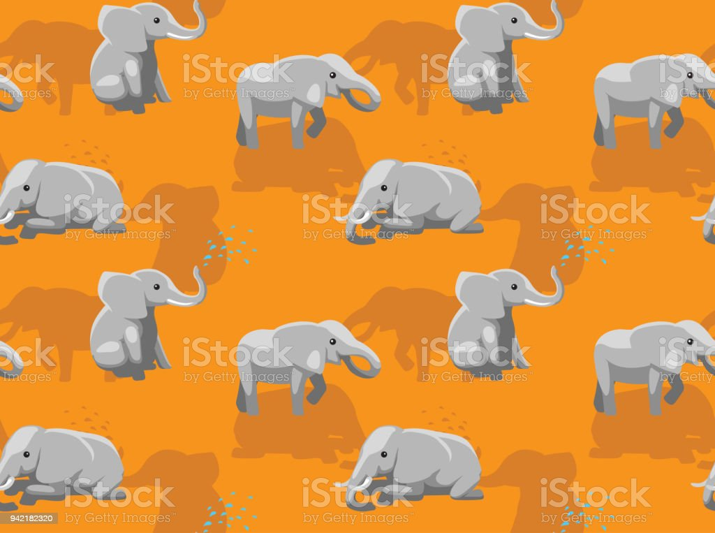 Cute Elephant Poses Cartoon Background Seamless Wallpaper Royalty Free