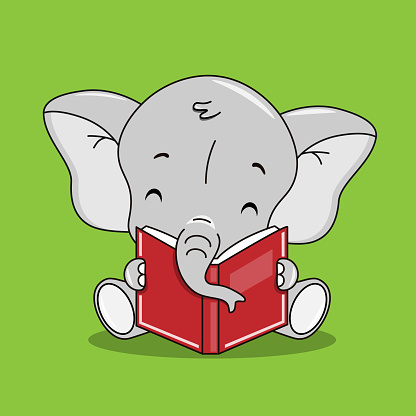 Cute elephant reading a book. Isolated vector