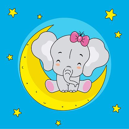 cute elephant sitting on the moon