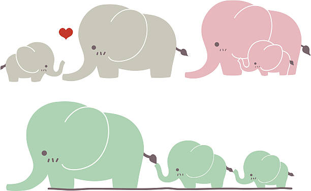 cute elephant - vector file eps10 - baby animals stock illustrations