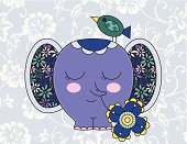 Cute vintage illustration with elephant holding flower & bird stylized as patchwork. The floral pattern on the background is seamless and can be used separately.