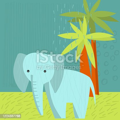 istock Cute  elephant. Vector illustration. 1224337768