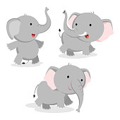 Cute elephant vector