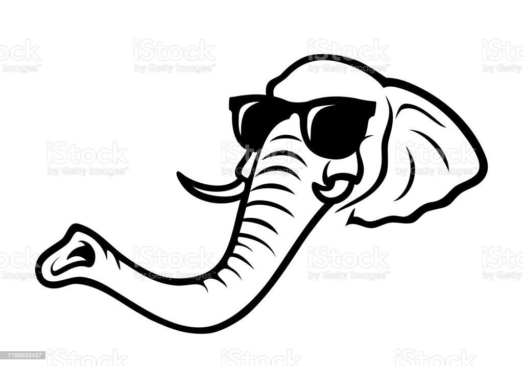 achat le plus récent de style élégant couleurs délicates Éléphant Mignon Portant Des Lunettes De Soleilillustration ...