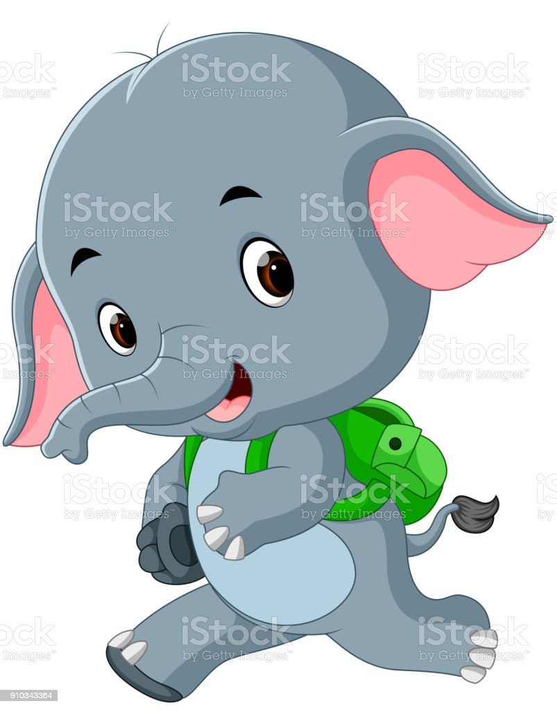 cute elephant with backpack vector art illustration