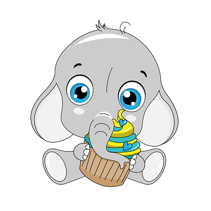 Cute elephant with cupcake in hands. Isolated vector