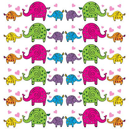 Cute elephants pattern