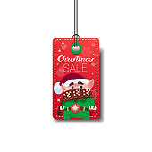Cute Elf On Merry Christmas Sale Tag Isolated On White Background Flat Vector Illustration