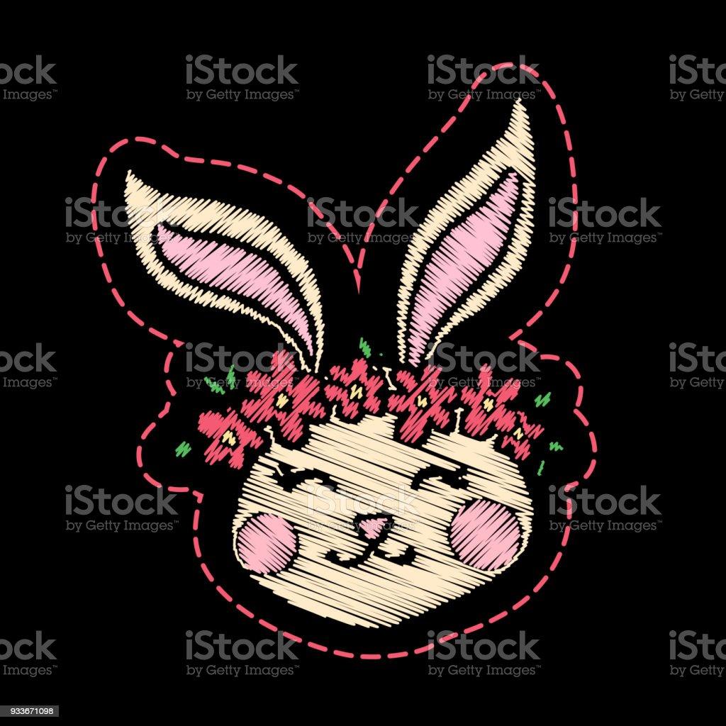 Niedliche Gestickte Kaninchen Für Kindermodedesign Stock Vektor Art ...