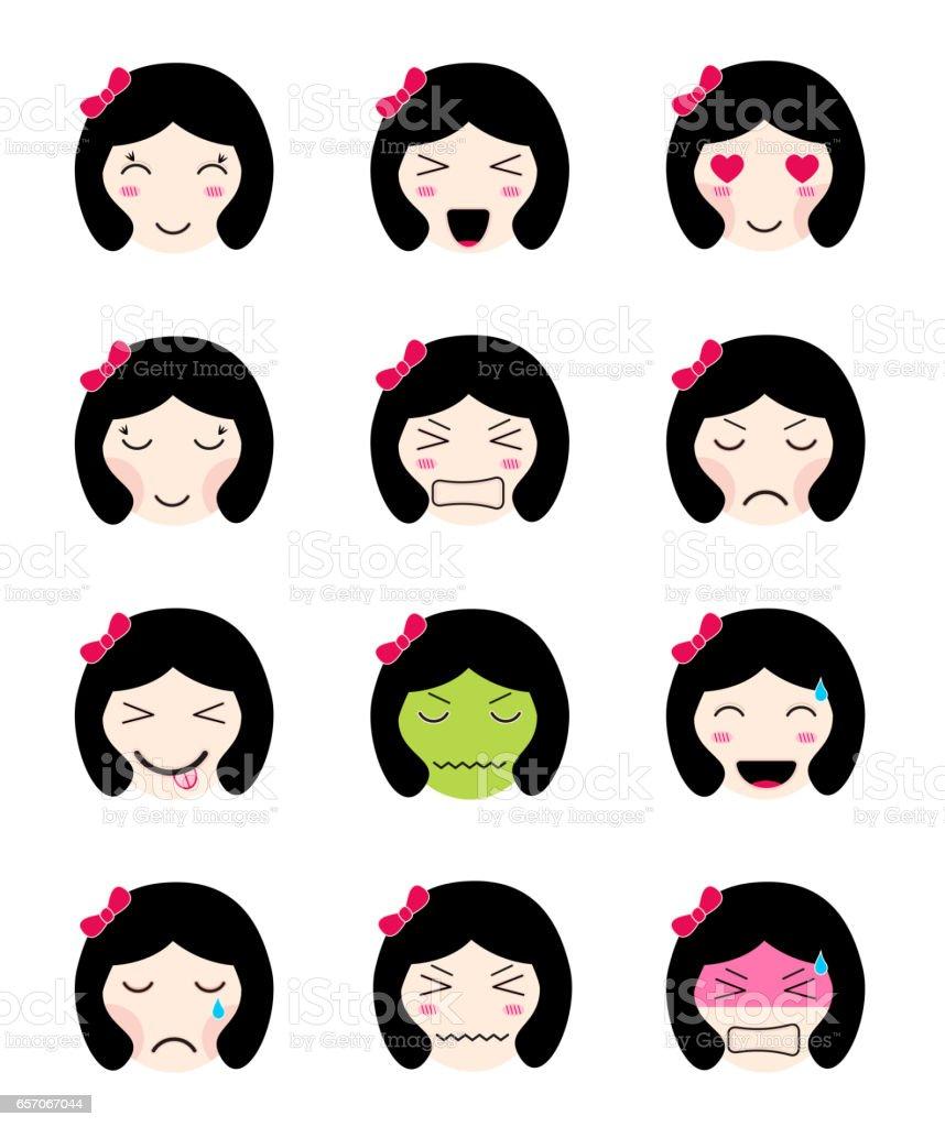 かわいい絵文字コレクションかわいいアジアの女の子顔さまざまな気分