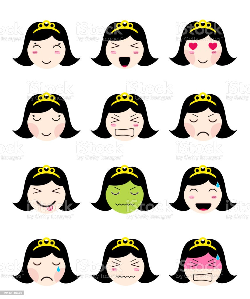 Kawaii asian girl face different moods royalty-free stock vector art