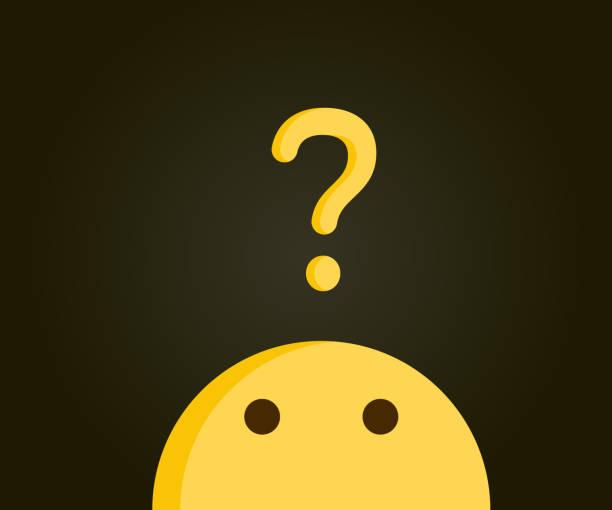 niedliche emoji blickte auf ein fragezeichen auf ein problem hinweist. problemlösung, neugier, fragen, zweifel, lösungen. vektor-illustration-design - verwirrtes emoji stock-grafiken, -clipart, -cartoons und -symbole