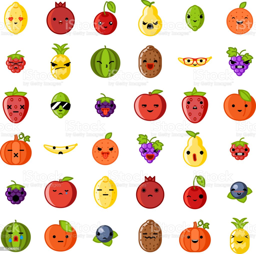 Cute Emoji Smile Fresh Fruit Apple Cherry Watermelon Kiwi
