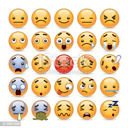 A set of 25 cute emoticon in various expression. All objects are group individually.
