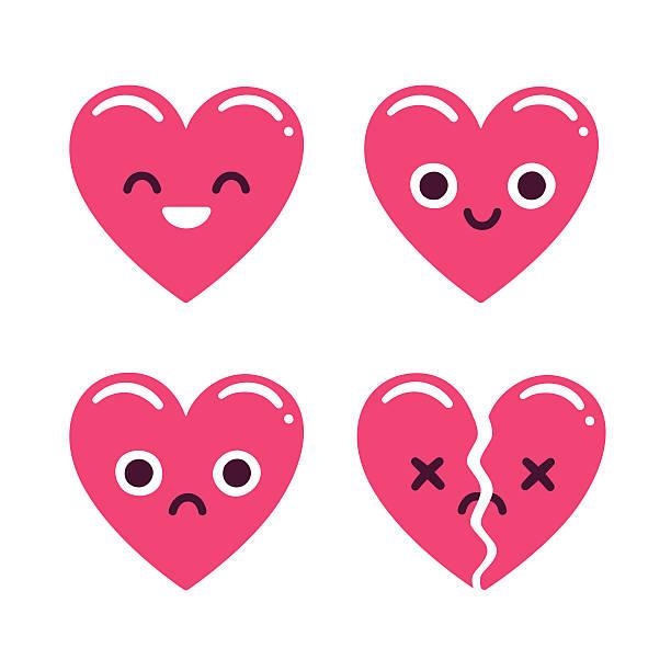 cute emoticon hearts - trauriges emoji stock-grafiken, -clipart, -cartoons und -symbole